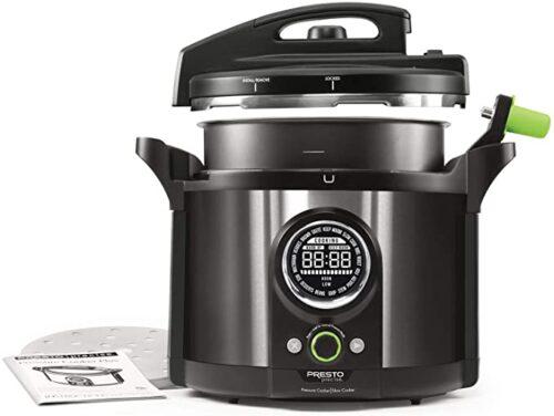 Presto Precise 10-Quart Multi-use Programmable Plus Electric Pressure Cooker, Black Stainless Steel