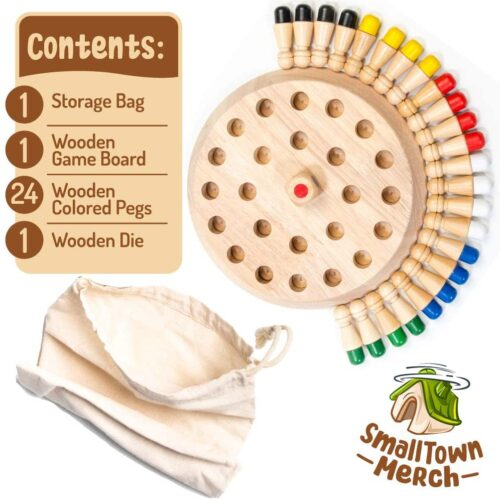 Wooden Memory and Color Matching Game for Kids and Elderly
