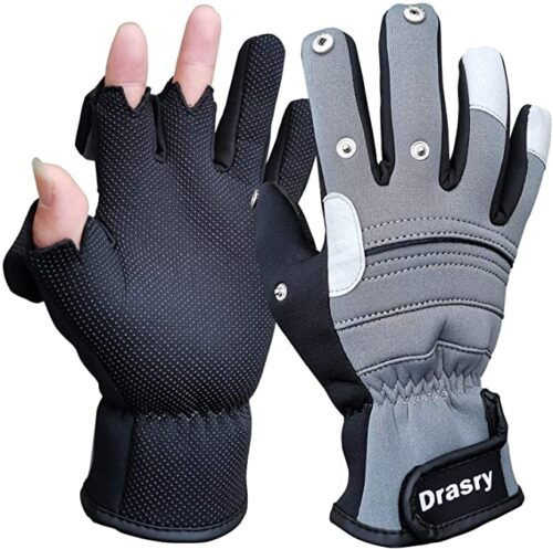 Drasry Neoprene Touchscreen Ice Fishing Gloves Winter Cold Weather