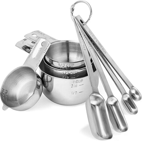 Morgenhaan Stainless Steel Measuring Cups and Spoons, Measuring Set of 8 Pieces